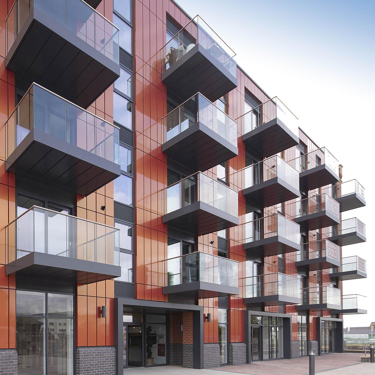 modular balconies along a building front