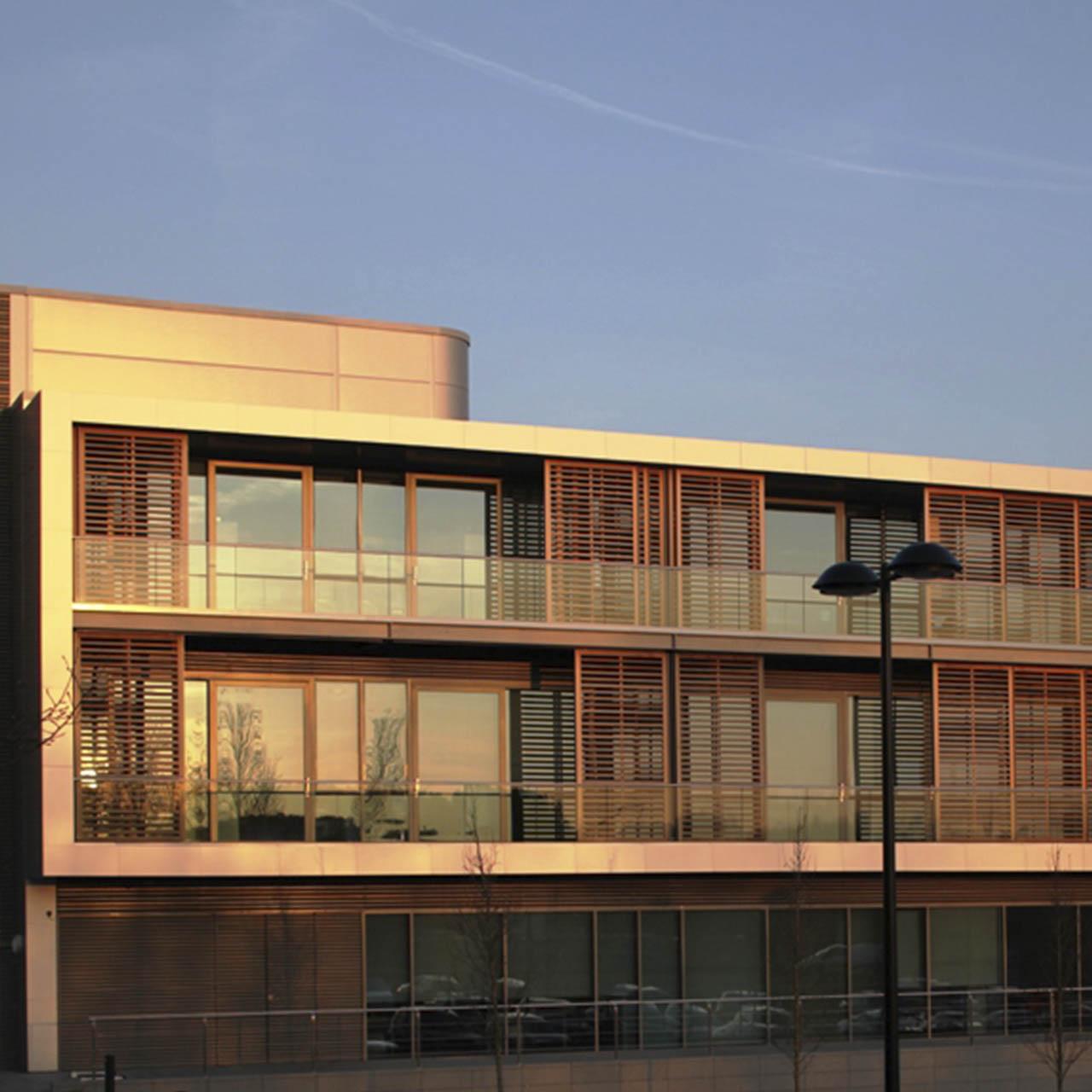 sunlight at dusk hitting contemporary balustrades