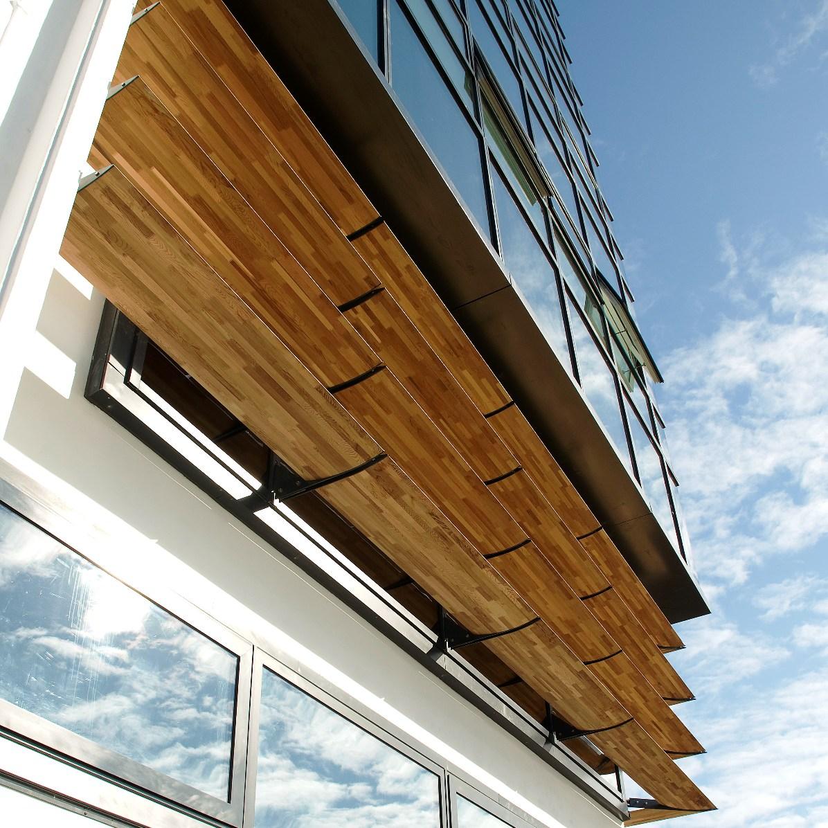 aluminium fins on contemporary structure